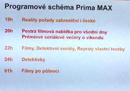 Programové schéma kanálu Prima Max.