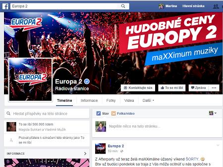 Facobooková stránka Europa 2.