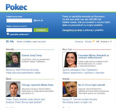 Podoba sociální sítě Pokec.sk.
