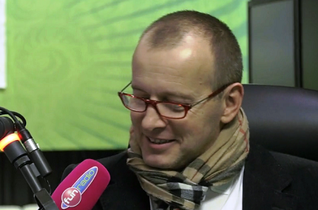 Boris Kollár ve studiu Fun rádia, foto: repro Fun rádio